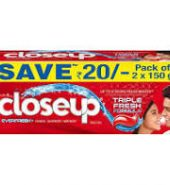 Closeup everfresh +anti-germ gel toothpaste red hot,save Rs.20,150g(pack of 2)