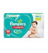 Pampers all round prootection pants, medium  size baby diapers ( md) 76 count, anti rash diapers, lotion withalove veera