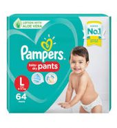 Pampers all round protection pants,large size baby diapers(lg)64 count,anti rash diapers,lotion with aloe vera